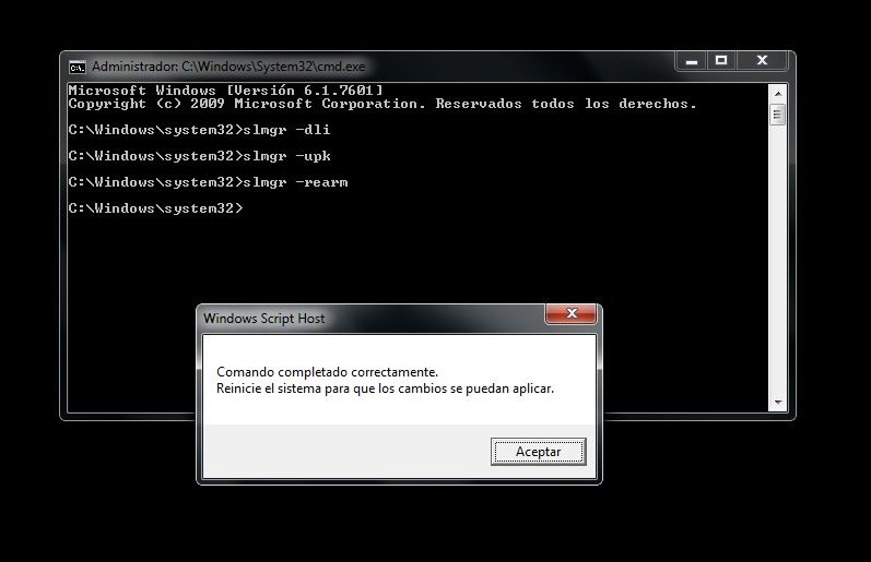 activar windows 7 cmd
