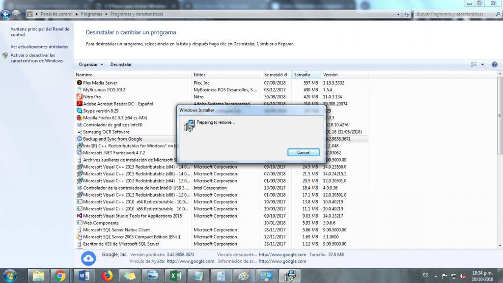 como desinstalar un programa que no me deja en windows 7