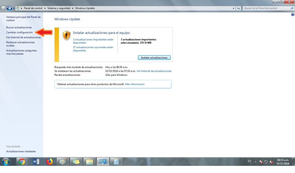 deshabilitar actualizaciones windows 7