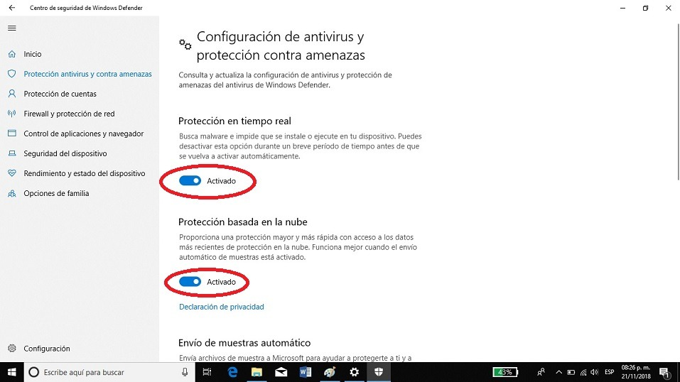 deshabilitar windows defender windows 10