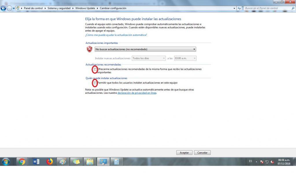 como se desactiva las actualizaciones automaticas en windows 7