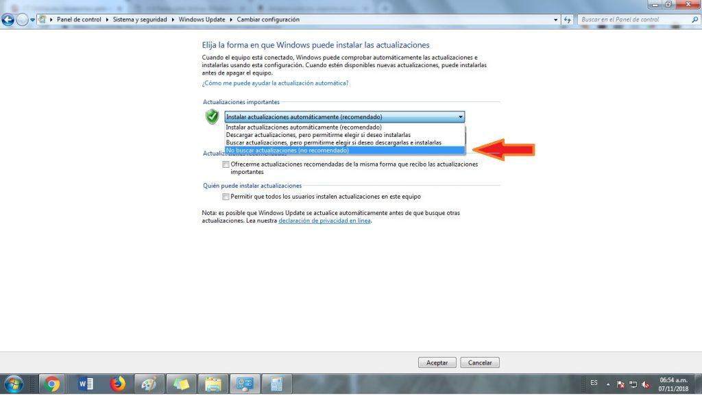 bloquear actualizaciones windows 7