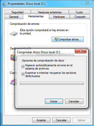 reparar errores de windows 7 cmd
