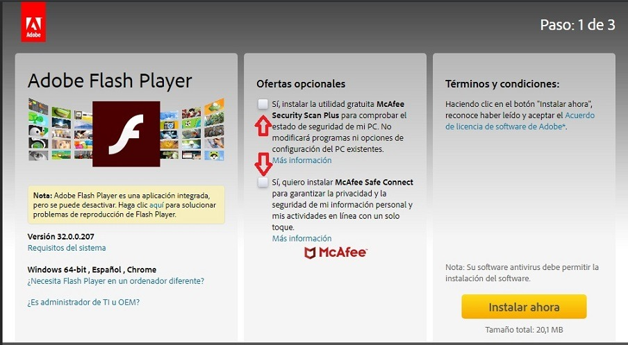 descargar adobe flash player gratis para windows 10 64 bits