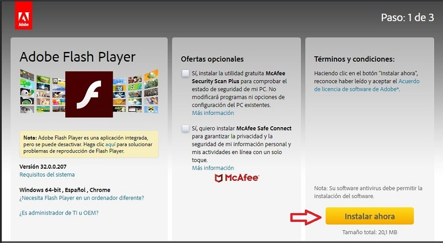 adobe flash player actualizar