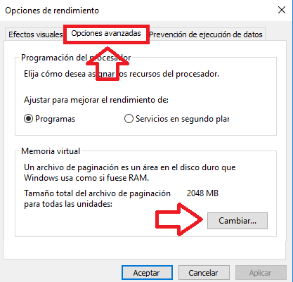 cuanta memoria virtual windows 10
