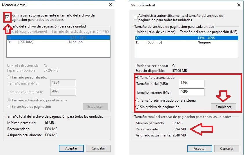 memoria virtual windows 10 8gb ram
