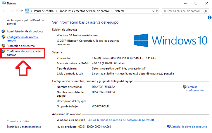 memoria virtual recomendada para 4gb ram windows 10