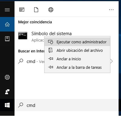 cómo ejecutar cmd como administrador en windows 10